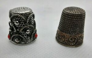 Antique 925 Sterling Silver Thimble By Waite Thresher Star Size 7 Pre 1930 S