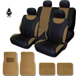 For Toyota New Black And Tan Cloth Car Truck Seat Covers With Mats Full Set