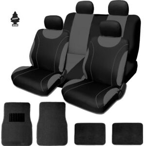 For Toyota New Black And Grey Cloth Car Truck Seat Covers With Mats Full Set