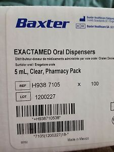 Baxter Exactamed Oral Dispensers 5ml Clear Syringe W Cap 100