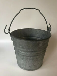 Vintage 4 Galvanized Steel Pail Rustic Chore Bucket Farm Country Planter Mexico