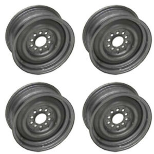Full Size Chevy Steel Wheel Set 14 X 6 For Disc Or Drum Brakes 1958 1969