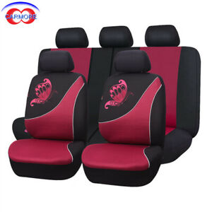 11 Pcs Full Set Universal Car Seat Covers Red Color Butterfly Embroidery