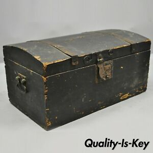 Antique Dome Top Wood Cast Iron Dovetail Constructed Treasure Chest Trunk Box