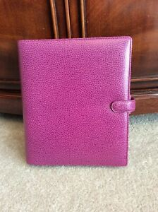 Filofax A5 Size Finsbury Genuine Leather Raspberry Planner Binder Organizer Snap