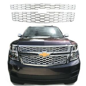 For 2015 2019 Chevy Tahoe Suburban Ls Lt Chrome Grille Overlay Grill Covers