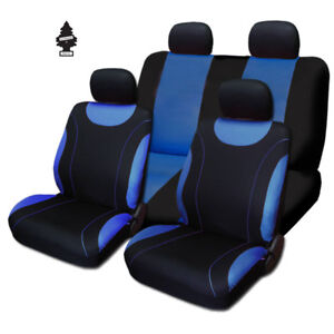For Toyota New Black And Blue Cloth Car Truck Seat Covers With Gift Full Set