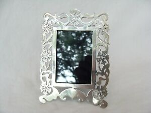 Vintage Egyptian Sterling Silver Flower Cut Out Photo Picture Frame 3 5x5