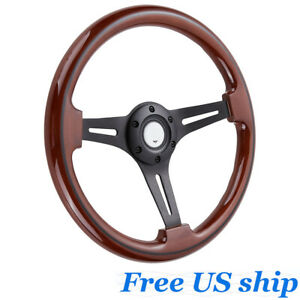 14 Inch 350mm Classic Wood Grain Black Trim 3 Spoke Black Steering Wheel Wooden