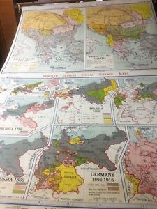 Vintage Donoyer Geppert Germany Europe World Pull Down History Map 1866 1918