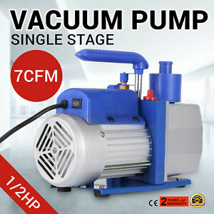 Single Stage Vacuum Pump 7cfm 1 2hp Rotary Vane Vevor Ac Black silver 198l min