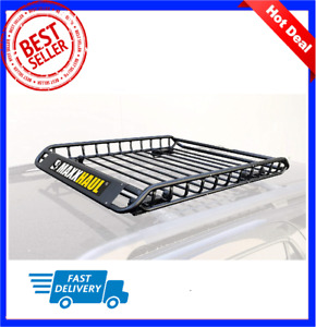 46 Universal Black Roof Rack Cargo Carrier W Extension Luggage Hold Basket Suv