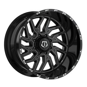 Tis 544bm Dually 20x8 25 8x200 Et 127 Gloss Black milled Accents qty Of 4