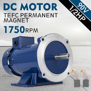 Dc Motor 1 2hp 56c Frame 90v 1750rpm Tefc Magnet Permanent Grease Durable Hq