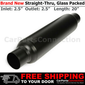 Highflow Straight thru Universal Muffler 2 5 Inches Inlet Outlet Exhaust 256909