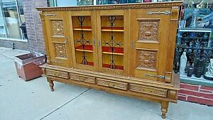 Antique Wood Carved Panel Arts Crafts Oak Bookcase 4 Door Cabinet