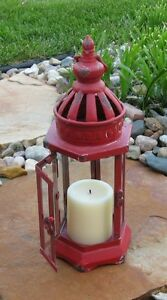 Farmhouse Red Metal Glass Lantern Candle Holder Primitive French Country Decor