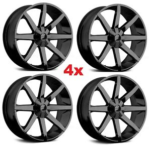 26 Gloss Black Wheels Rims 6x139 7 6x5 5 Km651 Slide