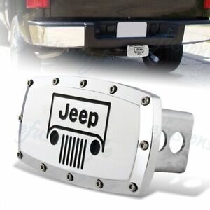 For Jeep Grill Hitch Cover Plug Cap 2 Trailer Receiver Engraved Billet