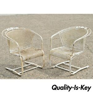 Pair Of Vintage Woodard Daisy Bouquet Barrel Back Bouncer Lounge Arm Chairs B