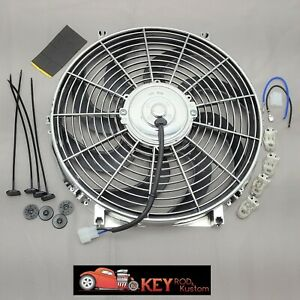 Chrome 14 Electric Cooling Fan Reversable Puller Pusher 12v 1750 Cfm Radiator