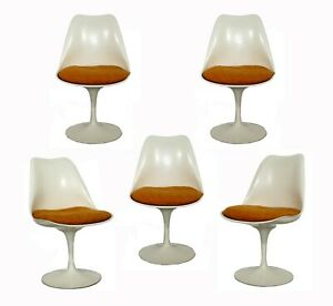 Mid Century Modern Eero Saarinen For Knoll Set 5 Tulip Side Dining Chairs 1960s