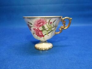 Vintage January Carnation China Floral Gold Trim Coffee Tea Cup