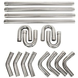 2 5 Stainless Steel Anti rust Mandrel Exhaust Pipe Straight bend Kit 8pc 16pc