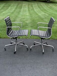 Eames Herman Miller Executive Group Desk Chairs Set Of 2 New Editions Black