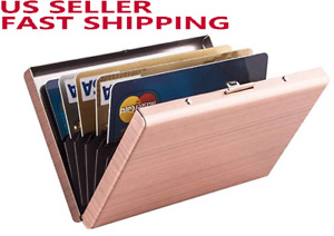 2pcs Rfid Credit Card Holder Protector Stainless Steel Wallet Random Colors