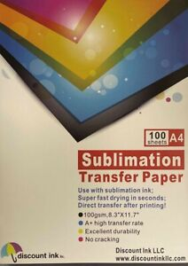 100 Sheets A4 Sublimation Heat Transfer Paper For Inkjet Printer Mug T shirt
