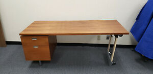 Herman Miller George Nelson Css Desk With Pedestal Component Metal Pull With Key