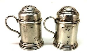 Vintage Lunt Tankard Mini Beer Stein Sterling Silver 582 Salt Pepper Shakers