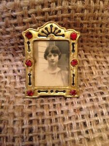 Antique Miniature Victorian Brass Picture Frame With Six Rhinestones