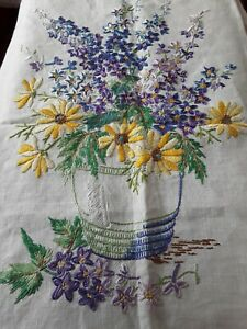 Antique Needlework Hand Embroidered On Linen Unfinished Vase Of Flowers