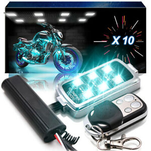 10x Pods Motorcycle Led Light Underglow Neon Accent Brake Kit Remote For Indian