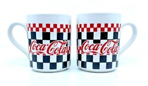 Two Coca-Cola Collectible Coffee Mug Gibson Checkered Flag 1996 Black Red White