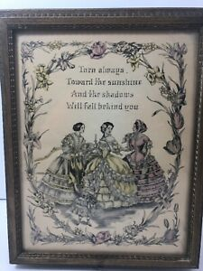 Vintage Wooden Victorian Jewelry Love Letters Sentimental Mirrored Box B5