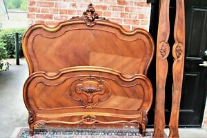 French Antique Carved Walnut Louis Xv Queenl Size Bed Bedroom Furniture