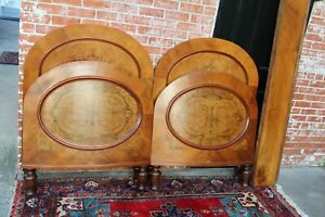 Antique Solid Burled Walnut Pair Of Twin Bed Bedroom Furniture Set