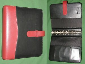 Classic 1 25 Red Black Faux Leather Franklin Covey Planner Binder Organizer