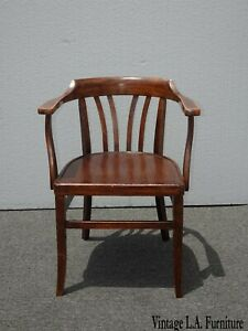 Vintage Bankers Style Traditional Wood Arm Chair