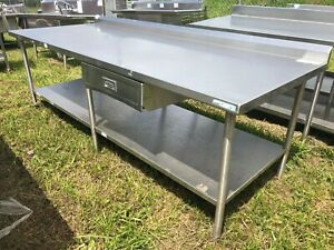 Load King Large Heavy Duty 8 X 37 Commercial Stainless Steel Prep Work Table
