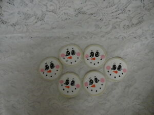 Set Of 6 Handmade Snowmen Christmas Cookies Bowl Fillers Ornies Make Do S Ornies