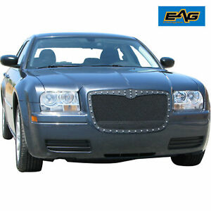 Fit 05 10 Chrysler 300c Rivet Grille Black Steel Wire Mesh Grill W Abs Shell