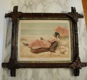 Antique Wood Picture Frame With Carved Leaf Corners Antique Print