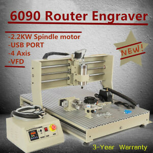 Usb 4 Axis Diy Cnc 6090t Router Engraver Wood Pvc Carving Milling Machine 2 2kw