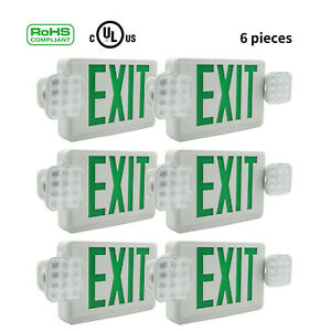 1 2 4 6pack Green Led Exit Sign Emergency Light Square Head Combo Ul924 Combor