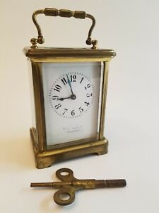 Antique Brass Carriage Clock Retailed By Blair Crawford Philadelphia