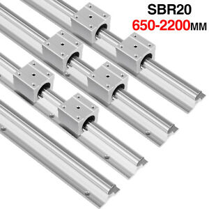 2x Sbr20 650 2200mm Linear Rail Fully Supported Shaft Rod With 4x Sbr20uu Block